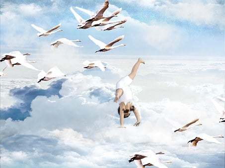 Child, Clouds, Sky, Swans, Flying, Wheel, Weightless