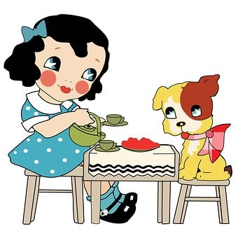 Girl, Dog, Tea Party, Child, Little, Puppy, Doggy
