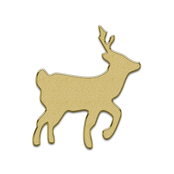 Deer, Christmas, New Year's Eve, Golden, Element