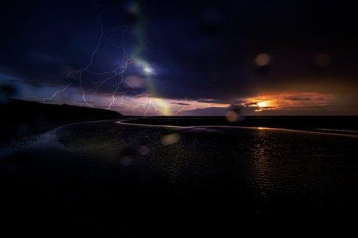 Sunset, Sun, Evening, Sky, Sea, Darkness, Beach, Flash