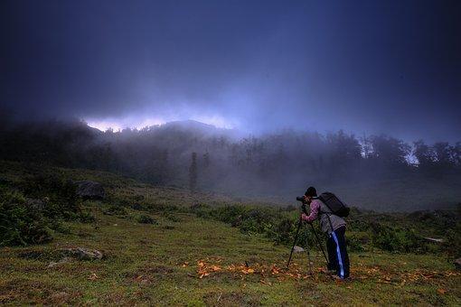 Photographer, Mountain, The Landscape, Background, Fog