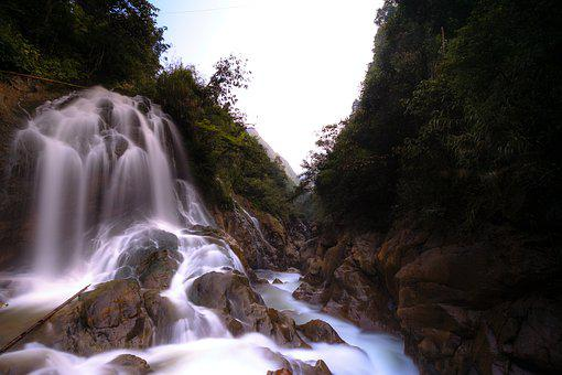 The Waterfall, Forest, Streams, Scenery, Wave