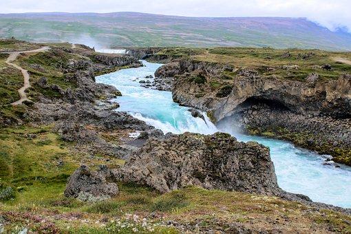 Waters, Nature, Landscape, Iceland, Godafoss, Waterfall