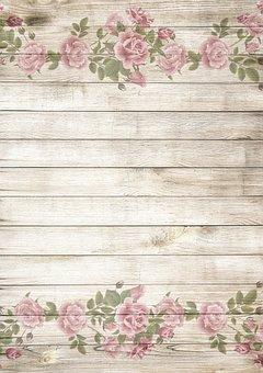 On Wood, Vintage, Roses, Pink, Nostalgic, Playful
