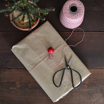 Gift, Package, Wrapping, Scissors, From Above, Wood