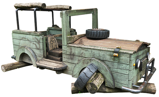 Jeep, Wooden Car, Playground, Game Device