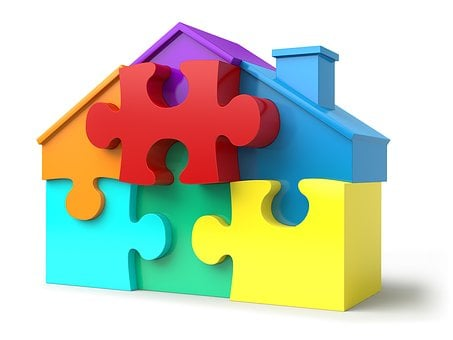 Puzzle Pieces, House Shape, Real Estate, Jigsaw, Puzzle