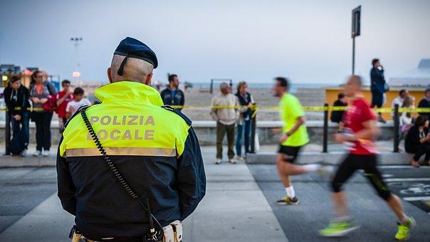 Cop, Human, Road, Marathon, Race, Sport