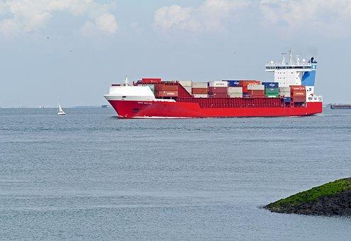Container Freighter, Westerschelde, Waters, Sea, Ship