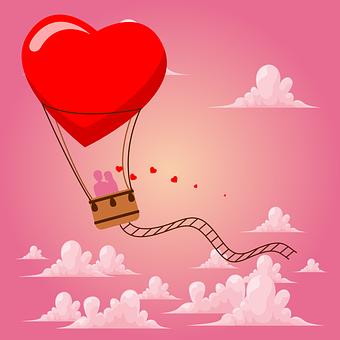 Ballon, Love, Silhouette, Couple, Heart, Symbol, Design