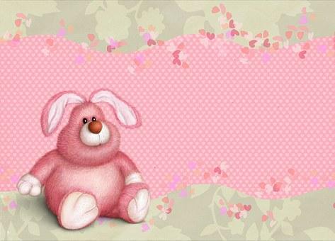 Christmas, Happy, Card, Kids, Teddy, Bear, Bunny, Gift
