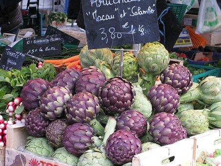 Market, Food, Fruit, Vegetables, Artichocke, France