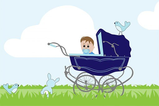 Baby, Boy, Baby Boy, Blue, Vintage, Baby Carriage, Pram