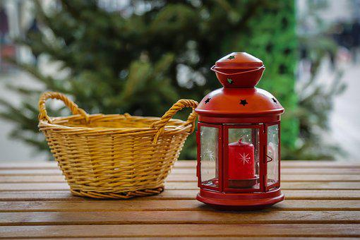 Lantern, Basket, Snack, Christmas, Advent, Winter