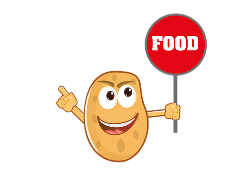 Food, Cartoon, Mascot, Potato, Character, Smiling