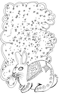 Cat, Coloring Page, Detailed, Silly, Fun, Rabbit, Cute