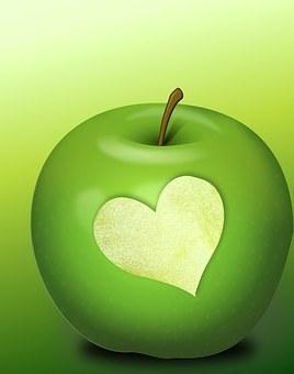 Heart, Herzchen, Health, Apple, Green, Bite, Healthy