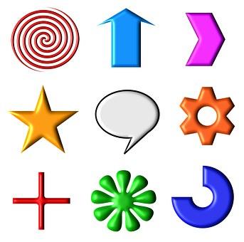 Icons, Symbols, Shapes, Set, Web, Internet, Logo