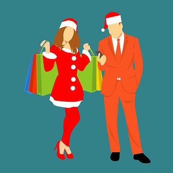 Merry Christmas, Man, Male, Guy, Woman, Girl, Standing