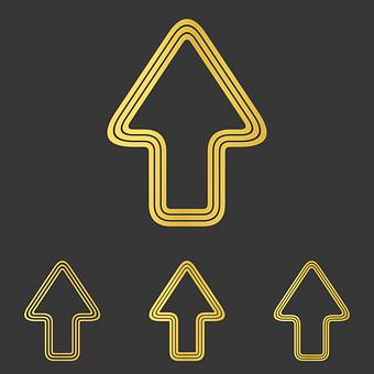 Arrow, Logo, Up, Upwards, Icon, Metal, Metallic