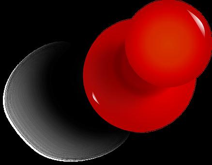 Drawing Pin, Tack, Thumbtack, Red, Office, Pushpin