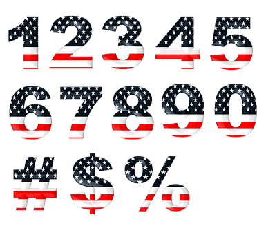 Numbers, Numeric, Stars, Stripes, Font, Set, Design