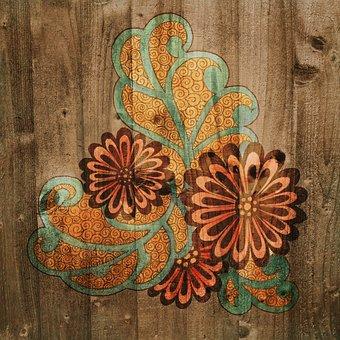 Background, Wood, Flower, Floral, Square, Folk, Nature