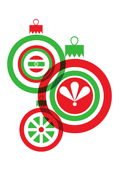 Christmas, Red, Green, White, Balls, Vector, File