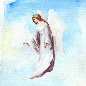Background, Page, Angel, Wings, Blue, Watercolor