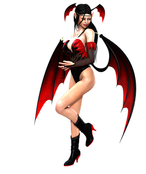 Girl, Hell, Sexy, Wings, Pose, Fairy, Devil, 3d