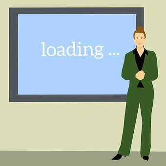 Business Woman, Screen, Presenting, Cartoon Character