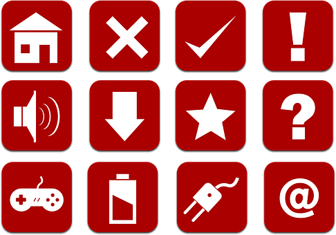 Icons, Set, Red, Home, Cancel, Check, Attention