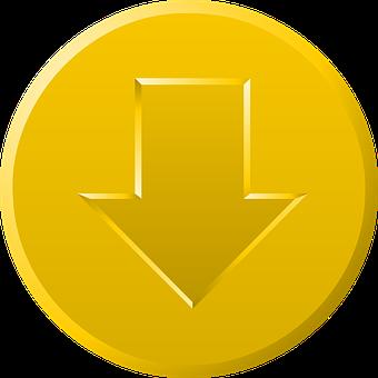 Download, Button, Gold, Golden, Yellow, Arrow, Down
