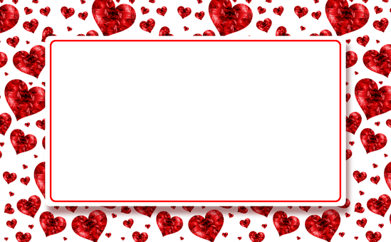 Banner, Hearts, Red, Plate, Photo Frame, Frame