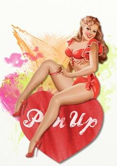 Retro, Valentine, Pin Up, Girl, Heart, Love, Romantic