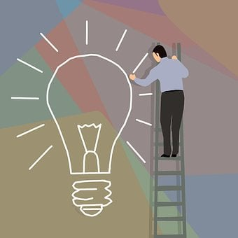 Bulb, Businessman, Drawing, Idea, Inspiration, Ladder