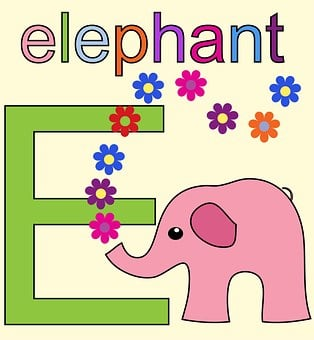 Elephant, Pink, Letter E, Alphabet Letter E, E, Font