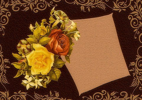 Place Card, Vintage, Background, Roses, Romantic