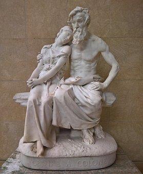 Sculpture, Art, Statue, Marble, Oedipus, Colone, Man