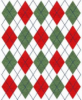 Red, Green, White, Argyle, Navy, Thread, Stitches