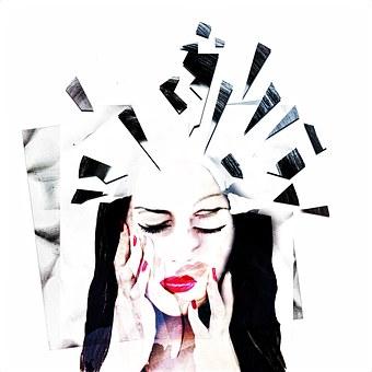Mental Health, Mental Illness, Women, Face, Art, Broken