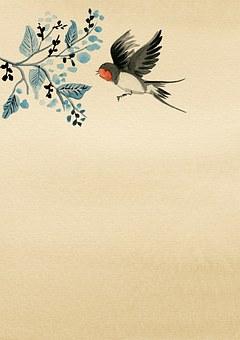 Background, Paper, Asian, Flower, Bird, Flying