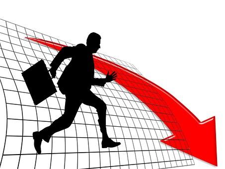 Man, Silhouette, Luggage, Businessman, Loss, Arrow