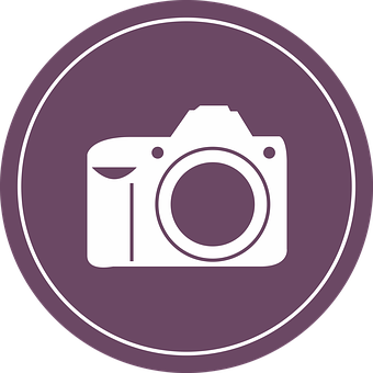 Camera, Badge, Flat, Clip Art, Vintage, Pink, Icon