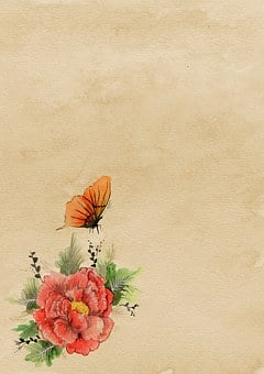 Background, Paper, Asian, Flower, Butterfly, Parchment