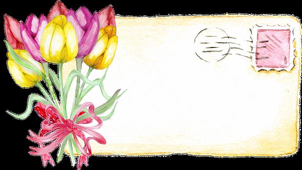Tulip, Post Card, Label, Vintage, Floral, Decoration