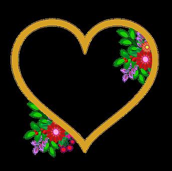 Photo Frame, Heart, Flowers, Wedding, Love, Happiness