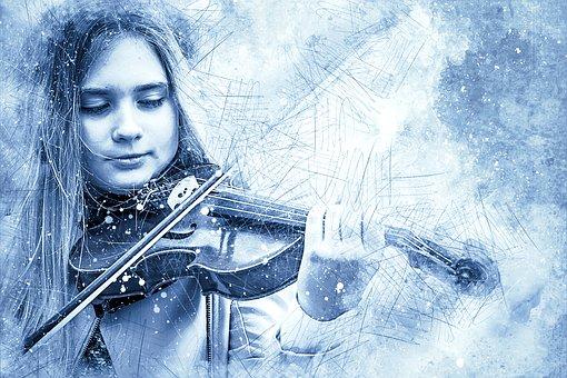 Girl, Violin, Art, Abstract, Watercolor, Vintage