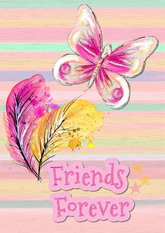 Friends, Forever, Friendly, Card, Greeting, Pink, Bird