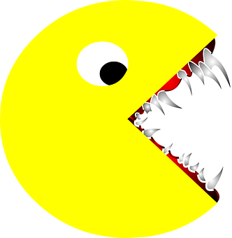 Scary, Pacman, Pac-man, Sharp, Teeth, Cartoon, Drawing